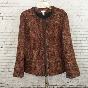 Chico's size 3 career blazer jacket brown XL 16